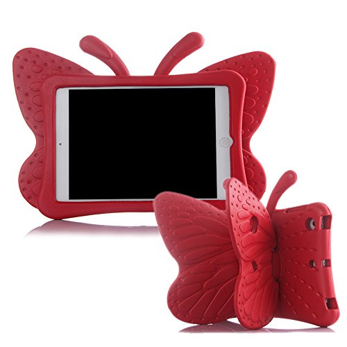 Ipad Mini Case,ER CHEN(TM) Kids Light Weight Cute Butterfly Design Shock Proof EVA Foam Series Case for Ipad Mini / Mini 2 / Mini 3 / Mini 4(Red) ()