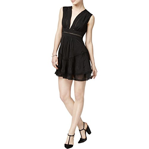 Marie Marie Womens Anya Embroidered Tiered Casual Dress Black - Dress Anya