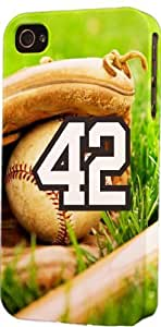 Baseball Sports Fan Player Number 42 Plastic Snap On Decorative iPhone 4/4s Case