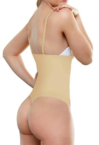 ShaperQueen 102A Thong - Women Waist Cincher Girdle Tummy Slimmer Sexy Thong Panty Shapewear Bodysuit (XS, Nude)