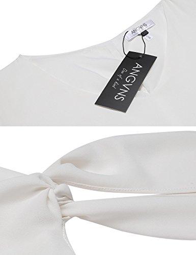 Allentato Spostamento Bianco Angvns Abbigliamento Delle Chiffon collo Manica Spaccato V Casual Donne Annodato R7wCCq860x