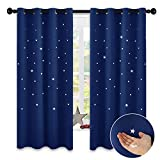 NICETOWN Children Blue Blackout Curtain - Space Inspired Night Sky Twinkle Star Curtain, Creative Blackout Window Drape for Bedroom (1 Panel, 52 x 63 inch Panel, Royal Navy Blue)