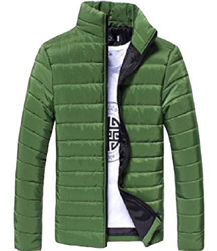 Collar Men Blackish Solid Green Howme Zip Warm Thickened Stand Jacket Sleeve Puffer Long TOxHHndIq