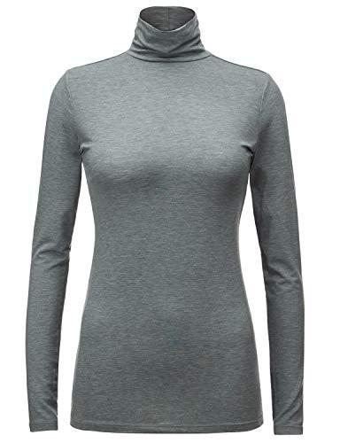 Regna X Women Long Sleeve Jersey Stretchy Basic Mock Turtleneck top Grey L