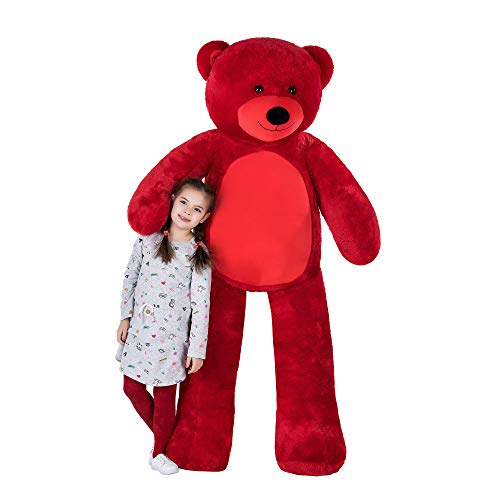 WOWMAX Cuddly Stuffed Giant Huge Teddy Bear Plush Animals Daney Life Size 6 Foot Teddy Bear Toy Doll for Birthday Valentine's Day Red 72 Inches -
