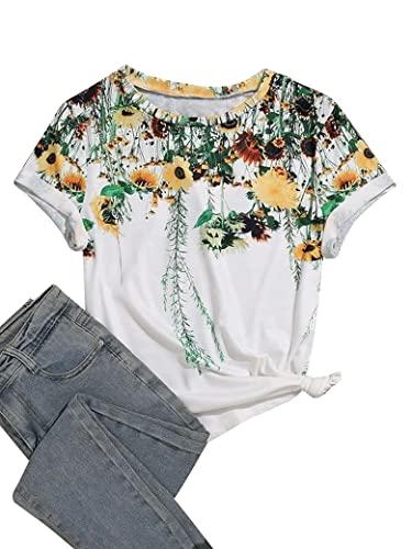 Epuyaito Women Novelty Sunflower Chrysanthemum Graphic Print Short Sleeve Crew Neck Tee White