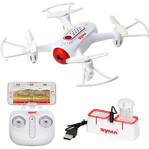 DoDoeleph Syma Mini UFO Quadcopter X22W Wifi FPV Pocket Drone HD Camera Remote Control Nano Quadcopter Drone RTF Mode 2 White