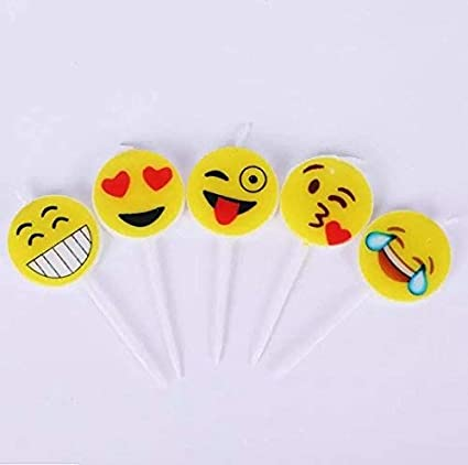 Amazon CharmTM Set Of 5 Emoji Smiley Birthday Candles Kids