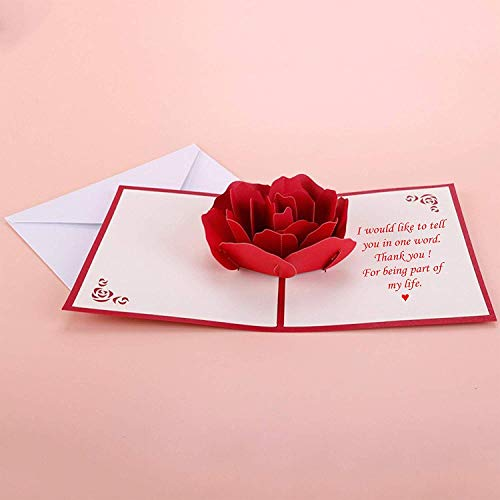 Valentine Day Gift for Her - Women's Romantic Love Card - 3D Pop-Up Red Rose Paper Craft with Recorded Message - Gorgeous Design - Ideal Anniversary, Birthday Present (Gifts Her For Day Valentines Card)