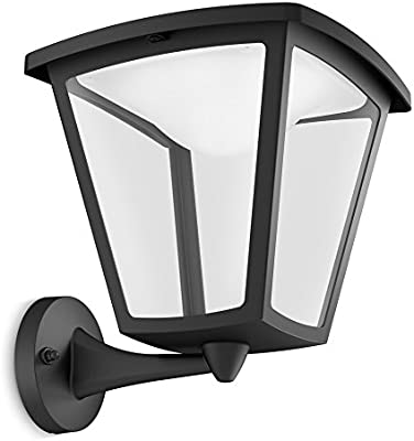 Philips myGarden Cottage Aplique para exteriores LED, luz blanca cálida, 4.5 W, equivalente a 37 W, IP44, color negro