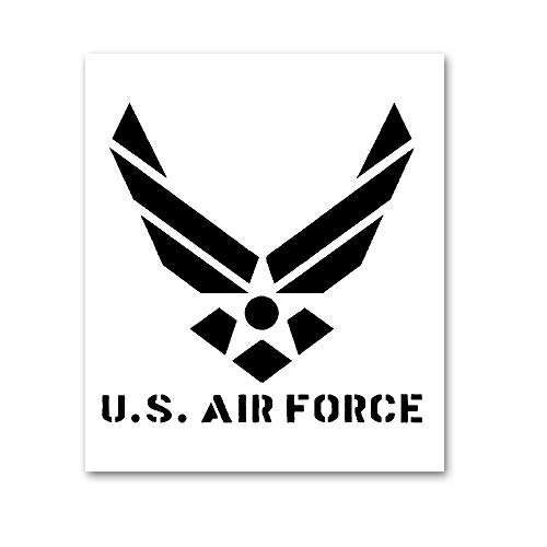 AxPower Large U.S Air Force Painting Stencil for Painting on Wood Fabric Walls Airbrush Reusable Mylar Template 12 x 14 inch (USAF Military ()