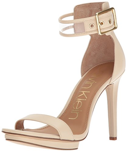 Calvin Klein Women's Vable Heeled Sandal, Sand, 6 Medium US by Calvin Klein
