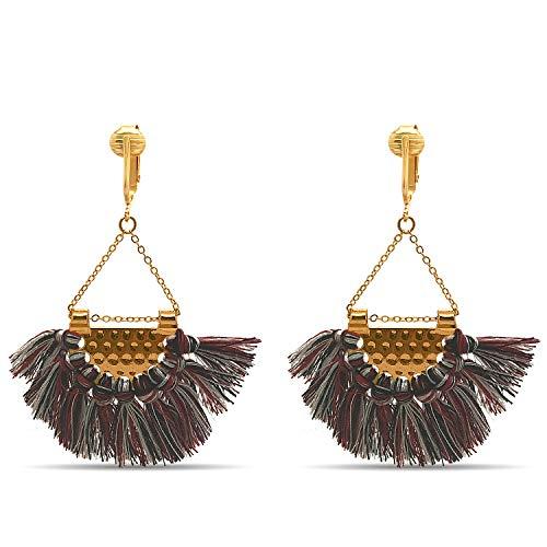 Clip Earring Shop-Clip On Tassel Earrings-Dangle Clip On Earrings Silk Tassel Long Clip Earrings Bohemian (Red Striped Art Deco Tassels)