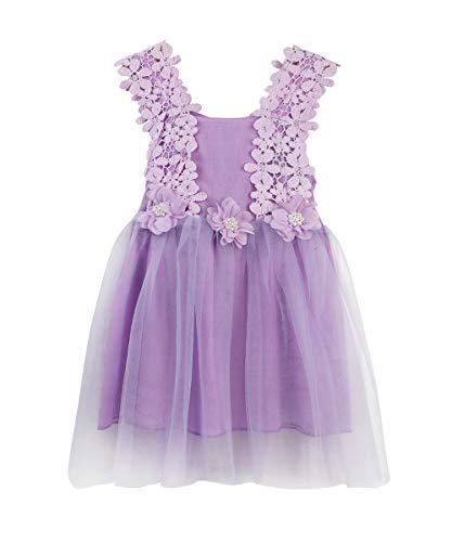 LYXIOF Baby Girls Tutu Dress Toddler Sleeveless Flower Crochet Lace Straps Tulle Sundress Purple 100CM