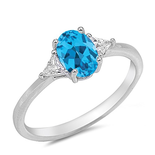 Topaz Sky Blue Ring Ladies (925 Sterling Silver Faceted Natural Genuine Sky Blue Topaz Oval Ring Size 7)