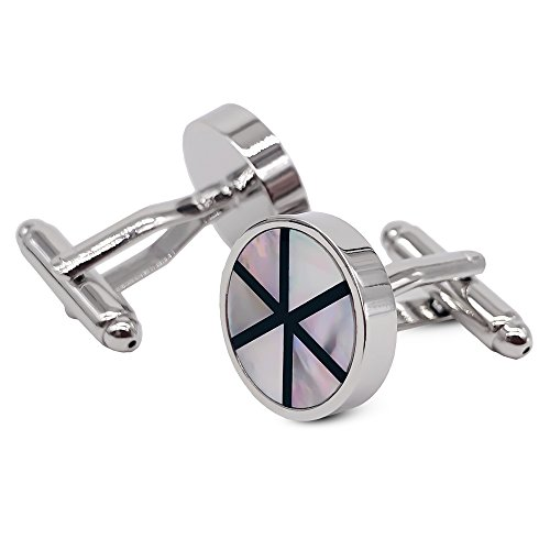 VIILOCK Sterling Silver Round Mother of Pearl Cuff Links Black Enamel Cufflinks Set with Gift Bag for Men Wedding