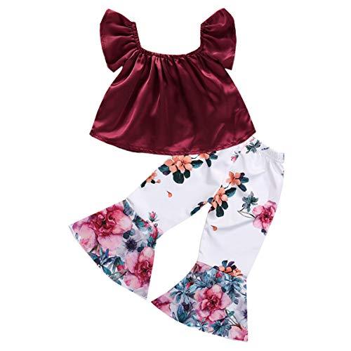 YOUNGER TREE 2PCS Toddler Kids Baby Girls Off Shoulder Top + Floral Bell-Bottoms Pants Outfit Clothes Set (18-24 Months, Wine red) (18 Bell Bottom)