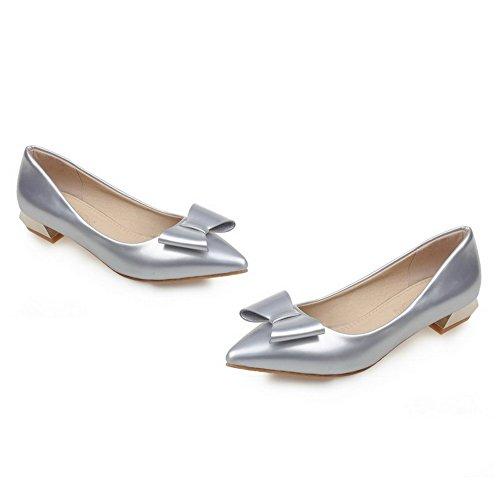 AgooLar Damen PU Rein Ziehen auf Spitz Zehe Niedriger Absatz Pumps Schuhe Silber