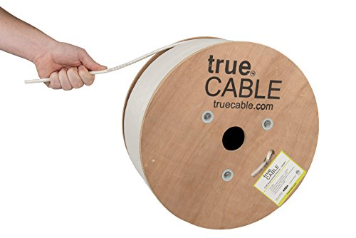(Cat6A Plenum (CMP), 1000ft, White, 23AWG 4 Pair Solid Bare Copper, 750MHz, ETL Listed, Unshielded Twisted Pair (UTP), Bulk Ethernet Cable, trueCABLE)