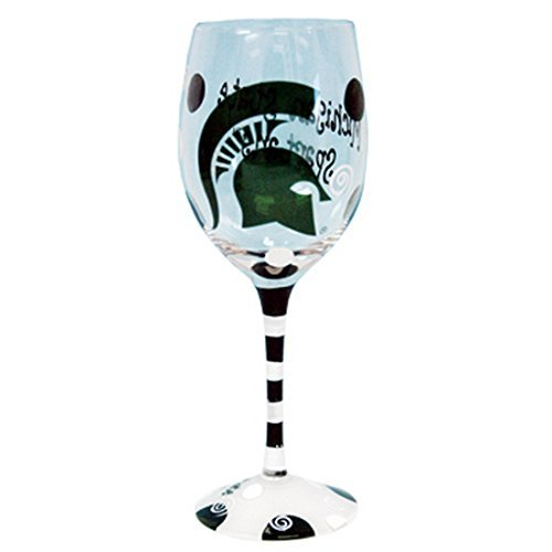 Michigan State Spartans Green and White Hand Painted Wine - State Glass University Wine
