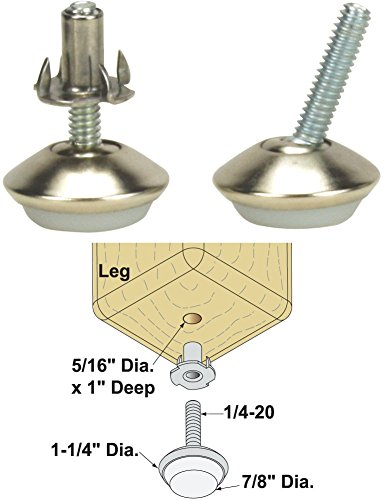 Platte River 158387, Hardware, Casters And Glides, Adjustable Glides, 1/4-20 Swivel Glide With T-Nuts, 4 Each