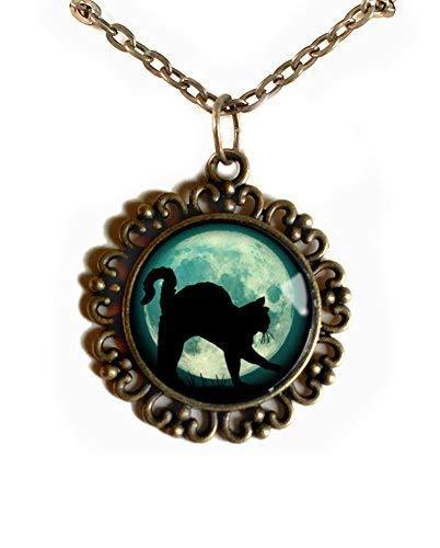 Black Cat on Blue Moon pendant necklace ()