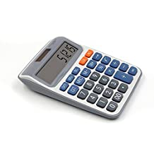 OFFDIX Office Desktop Calculator, Festivial Gift Solar and Battery Dual Power Electronic Calculator Portable 12 Digit Large LCD Display Calculator