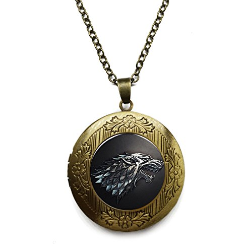 - Vintage Bronze Tone Locket Picture Pendant Necklace Game of Thrones Inspired House Stark of Winterfell Included Free Brass Chain Gifts Personalized