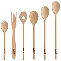 Uulki?? 6 pieces Eco-friendly Cooking Spoon Set from Ardennes Beechwood: 4 Spoons, 1 Stirring Spoon, 1 Fork by Uulki