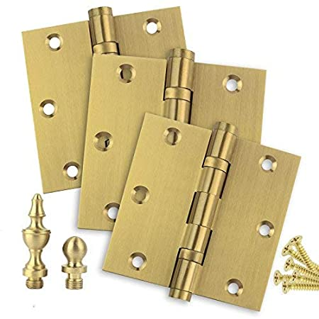 Stainless Steel Removable Pin Set of 2 Hinges Ball//Urn//Button Tips Included US4 Door Hinges 3.5 x 3.5 Extruded Solid Brass Ball Bearing Brass Hinge Heavy Duty Satin Brass Architectural Grade