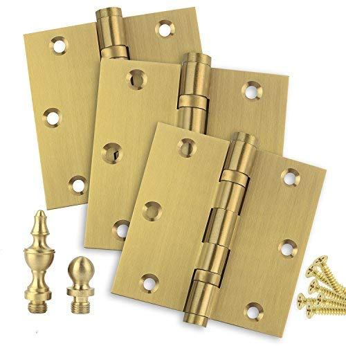 "Door Hinges 3.5"" x 3.5"" Extruded Solid Brass Ball Bearing Brass Hinge Heavy Duty Satin Brass (US4) Stainless Steel Removable Pin, Architectural Grade, Ball/Urn/Button Tips Included (3)"