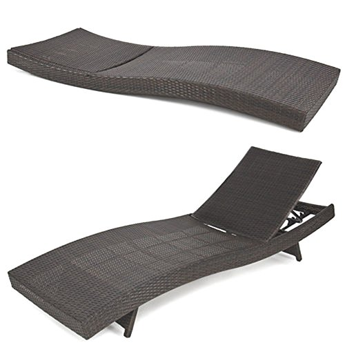 BCP Outdoor Patio Furniture Wicker Rattan Adjustable Pool Chaise Lounge - Nearby Macys
