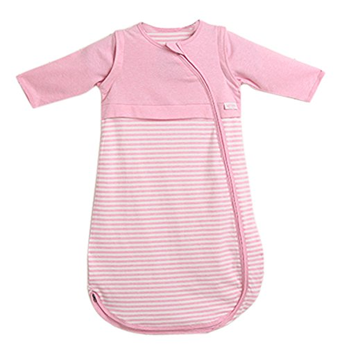 LETTAS Baby Girls 100% Cotton Stripe Removable Sleeve Sleeping Bag 0.5 Tog - Soft Wearable Blanket Pink (12-24 Months) by LETTAS