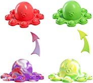 Mini Reversible Octopus Push Pop Bubble Fidget Toy, Flip Cute and Small Octopus Squeeze Sensory Tools to Relie