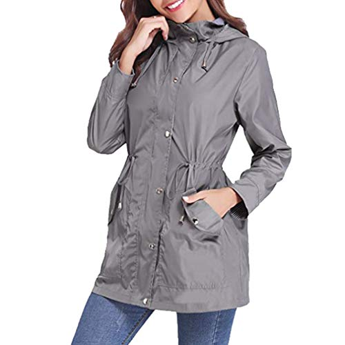 Impermeabile Antivento Cappotti Giacca Coat Casual Patchwork Grigio Mxssi Hooded Vento Coulisse Trench A Donna f4v0xvwB