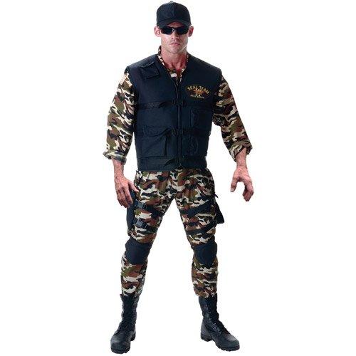 Underwraps Men's Seal Team Adult Deluxe, Camo/Black, One Size (Seal Costumes)