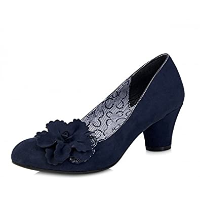 Ruby Shoo Samira Blue Navy Low Heel Flower Court Shoes: Amazon.co ...