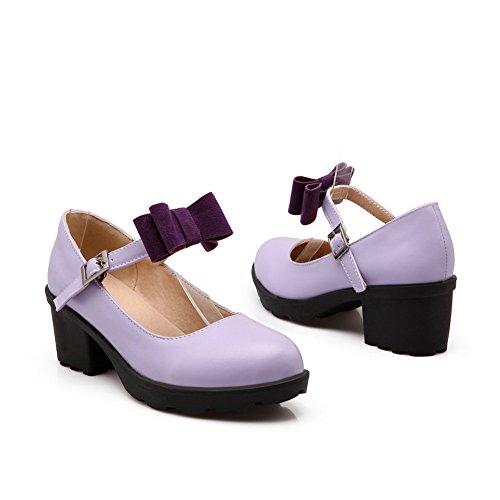 Balamasa Ladies Tacchi Chunky Fibbia Piattaforma Uretano Pompe-scarpe Viola