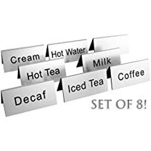 Coffee & Tea Carafe Signs (Set of 8); Tabletop Tent-Style Food Service Signs w/ Coffee, Decaf, Tea, Milk, Cream, Hot Water, Etc., 3.75 x 2-Inch