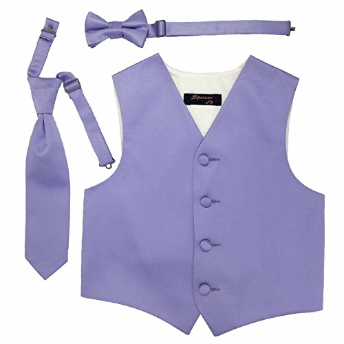 - Spencer J's Boys Formal Tuxedo Vest Tie Bowtie Set Variety Colors (3-4, Lavender)