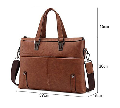 Shoulder Men's Bag Horizontal Business Pu Briefcase Bag Business Inch Bag 14 Computer Yellow gqS5tO