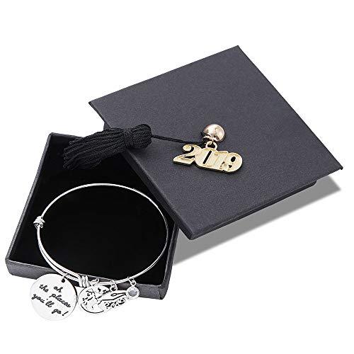 M MOOHAM Inspirational Graduation Bracelet Women Gifts - 2019 Adjustable Bracelet with Special Charms Graduation Gifts Friends Gifts Classmates Gifts Fight Cancer Gifts Bracelet for Her Him
