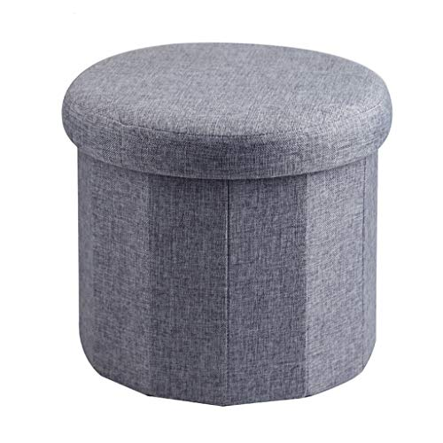 ZLZDZ Footstool and Ottomans Small Footstool, Linen Look, Round, Storage Toy Stool, Ottoman Chair Pouffe Seat, Change Shoe Bench Home Office Outdoor Camping Table Stool (Footrest Pouffe)