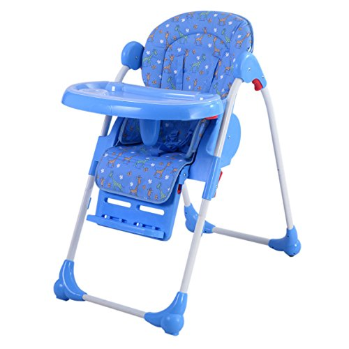 Costzon Adjustable Baby High Chair Infant Toddler Feeding Booster Seat Folding (Blue)