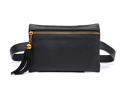 Leather Belt Bag - Women Small Leather Handbag Stylish Waist Bag Travel Phone Pouch Security Wallet Black