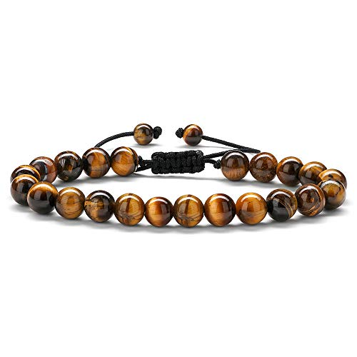 MONOOC Tiger Eye Mens Bracelet - 8mm Tiger Eye Natural Stone Beads Bracelet Mens Stress Relief Anxiety Bracelet Aromatherapy Essential Oil Diffuser Bracelets Yoga Beads Healing Bracelets for Women