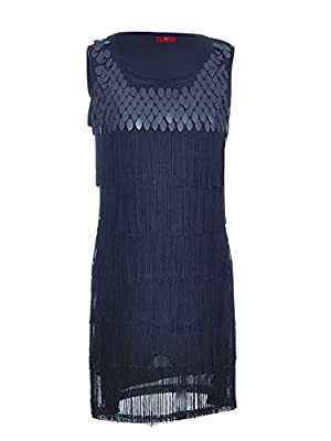 Vijiv Women's 1920s Flapper Dress Clothing Costume S/M Fit Sequined and Fringed