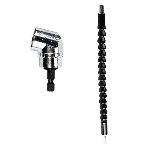 Breynet 105 Degree Right Angle Drill Hex Driver Adapter Magnetic Drill Bit Attachment Tool, 1/4 Flexible Hex Shaft Screwdriver Power Drill Bit Extension Magnetic Quick Change Connect Hex Drive Tip