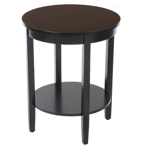 Bay Shore Collection Round Accent Table with Wood Top, (Maple Round Accent Table)