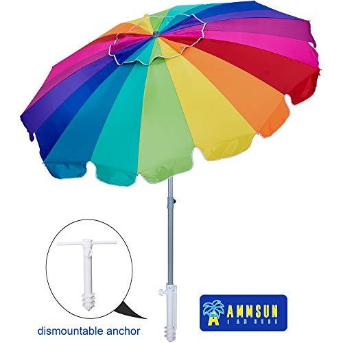 AMMSUN 8FT-Rum-G Pool Outdoor Sun Carry Bag, Rainbow 7.5ft 20 Panels Vented Beach Umbrella with Tilt and Telescoping Pole P